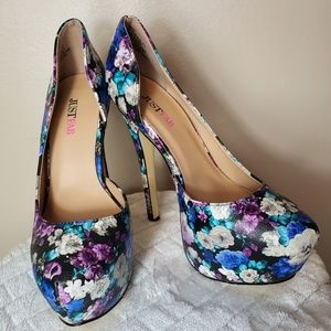 Blue & Purple Floral JustFab Heels